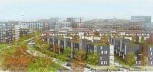 Vue en 3d de l'ensemble du projet du réaménagement du Triangle Namur/Jean-Talon dans le quartier de Côte-des-Neiges à Montréal