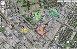 Vue aérienne des projets résidentiels du Triangle Namur/Jean-Talon