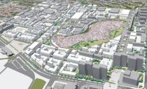 Carte en 3D des projets de réaménagement du quartier de Bergevin (Pointe-à-Pitre, Guadeloupe)