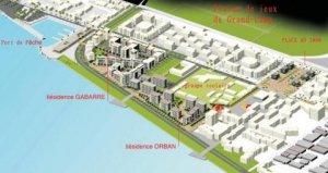 Carte en 3D des projets de logements sociaux pour le quartier de Lauricisque à Pointe-à-Pitre (Guadeloupe)