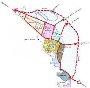 Carte des quartiers de Pointe-à-Pitre (Guadeloupe) concernés par la rénovation urbaine