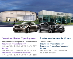 Publicité pour le concesssionnaire Luciani Acura et Infiniti