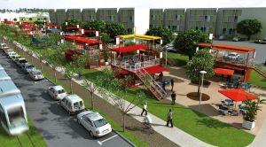 Vision en 3D du réaménagement d'une rue du quartier du Raizet, aux Abymes (Guadeloupe)
