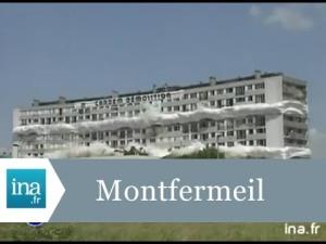 Démolition de la barre B2 de la cité des Bosquets à Montfermeil (93) en juin 1994