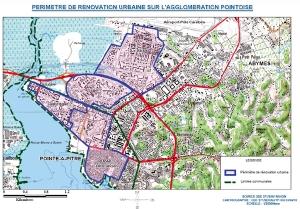 Carte des projets de rénovation urbaine à Pointe-à-Pitre et aux Abymes (Guadeloupe)
