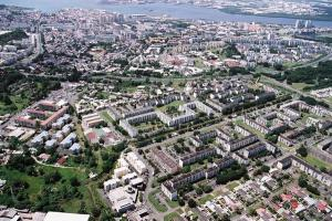 Vue aérienne des quartiers de Pointe-à-Pitre et des Abymes (Guadeloupe) concernés par le renouvellement urbain