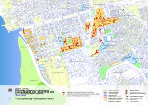 Carte des projets de rénovation urbaine sur le territoire de Cayenne (Guyane Française)