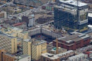 Vue aérienne du chantier d'agrandissement de l'Hôpital St-Luc