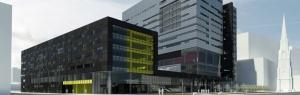 Vue en 3D du futur centre de recherche du CHUM au niveau de la rue