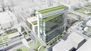 Vue aérienne en 3D du futur centre de recherche du CHUM