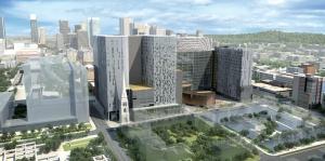 Vue aérienne en 3D du projet d'agrandissement du CHUM