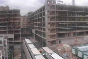Vue du chantier d'agrandissement de l'Hôpital Ste-Justine depuis l'avenue Decelles
