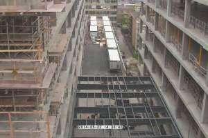 Vue du chantier d'agrandissement de l'Hôpital Ste-Justine depuis un des locaux du bâtiment principal