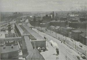 Vue du quartier de Griffintown et du port de Montréal au XIXe siècle