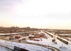 Une vue de l'ancienne gare de triage d'Outremont durant l'hiver