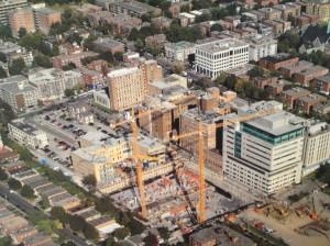 Vue aérienne du chantier du futur Pavillon K de l'HGJ