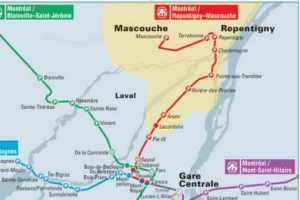 Plan des lignes des trains de banlieue de l'AMT avec la future ligne Mascouche (représentée en rouge sur l'image)