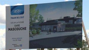 Affiche annonçant le chantier de la future gare de Mascouche
