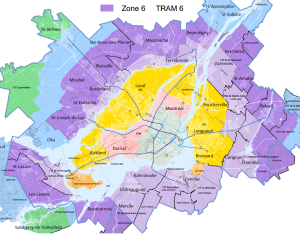 Carte des zones de tarification de l'AMT