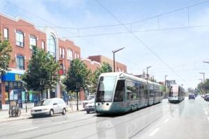 Représentation en 3D de la future ligne du tramway sur l'avenue du Parc