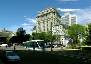 Représentation en 3D de la future ligne de tramway au coin de la rue Peel et du boulevard René-Lévesque