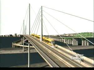 Représentation en 3D du SLR circulant sur le nouveau pont Champlain