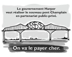 Caricature publiée sur le site du SCFP (Syndicat Canadien de la Fonction Publique) montrant le prix que vont payer les contribuables pour le péage du nouveau pont Champlain