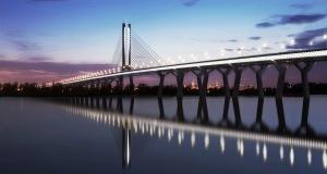 Vue en 3D du nouveau pont Champlain de nuit