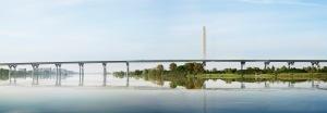 Le futur pont Champlain vu depuis le St-Laurent
