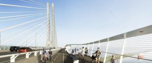Vue de la piste cyclable et piétonnière du futur pont Champlain