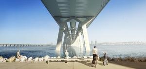 Vue des piliers du futur pont Champlain