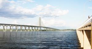 Vue du futurpont Champlain en direction de la Rive-Sud