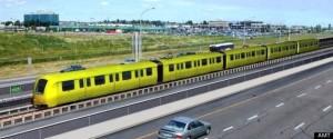 Représentation en 3D du Système Léger sur Rail (SLR) de l'Agence Métropolitaine de Transport (AMT) qui circulera sur le nouveau pont Champlain dès 2018