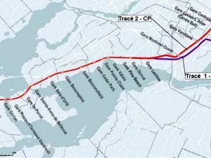 Tracés du CN et du CP pouvant être empruntés par la future navette ferroviaire