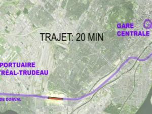 Choix des trajets empruntés par la future navette ferroviaire ralliant le centre-ville de Montréal à l'aéroport Pierre-Eliott Trudeau