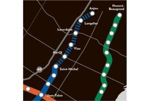 Plan du prolongement de la ligne bleue publié dans le journal La Presse du 30 mai 2013