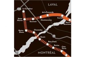 Plan du prolongement de la ligne orange publié dans le journal La Presse du 30 mai 2013