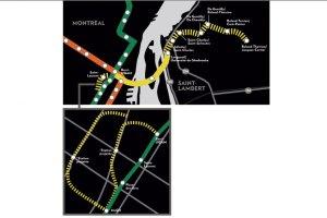 Plan du prolongement de la ligne jaune publié dans le journal La Presse du 30 mai 2013