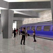 Illustration du projet d'Aérotrain d'Aéroports de Montréal (ADM)