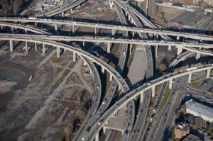 Vue aérienne de l'échangeur Turcot actuel