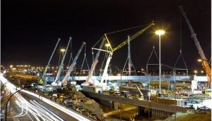 Grues sur le chantier du réaménagement de l'échangeur des Laurentides