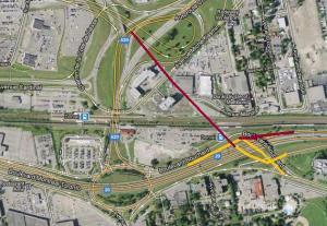 Détail du projet de réaménagement de l'échangeur Dorval figurant une bretelle d'accès direct à l'aéroport depuis l'autoroute 20