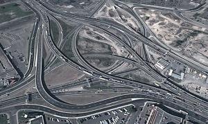 Vue aérienne de l'échangeur Décarie après le chantier