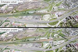 Vue aérienne de l'échangeur Dorval avant et après les travaux de réaménagement