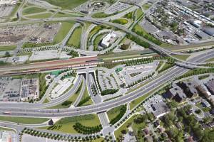 Vue aérienne en 3D du projet de réaménagement de l'échangeur Dorval