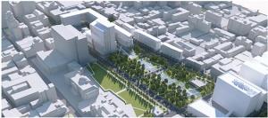 Vue numérique du projet de recouvrement de l'autoroute Ville-Marie au niveau de la station de métro Champ-de-Mars et du site du futur CHUM