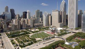 Vue du Millennium Park à Chicago (Illinois, USA) , source d'inspiration pour le recouvrement de l'autoroute Décarie