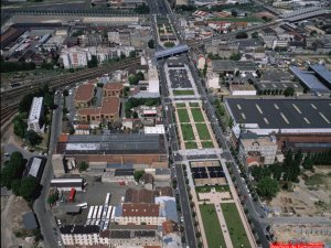 Vue aérienne des Jardins Wilson à La Plaine Saint-Denis construits au-dessus du tunnel du Landy