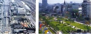 Vue de l'avenue du Président Wilson à Saint-Denis (93) avant et après la couverture de l'autoroute A1