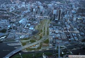 Vue aérienne du projet Bonaventure avec les secteurs avoisinant celui-ci